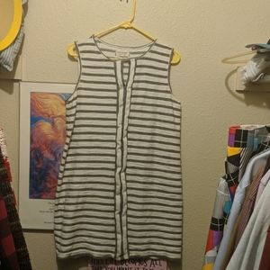 Cotton Dress | Grey White Horizontal Stripes